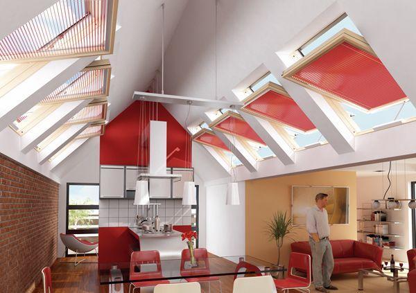 Okna dachowe w kuchni na poddaszu