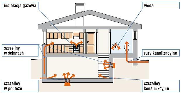 Drogi wnikania radonu do budynku