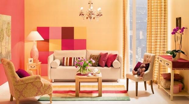 Kolory w salonie: jak stosować kolor żółty, różowy, czerwony w salonie